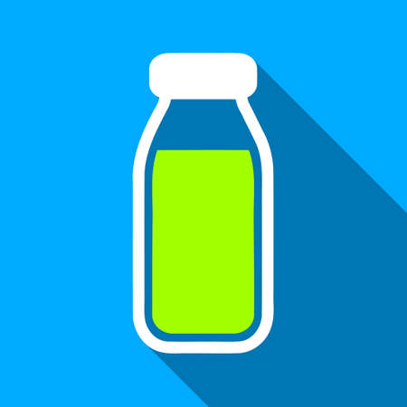 a solution tube: Full Bottle long shadow vector icon. Style is a flat light symbol with rounded angles on a blue square background. Illustration