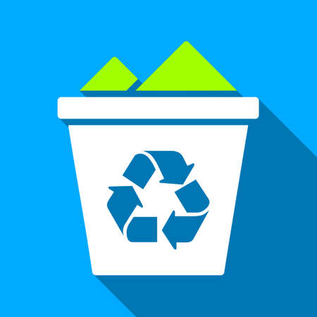 blue bin: Full Recycle Bin long shadow vector icon. Style is a flat light symbol with rounded angles on a blue square background. Illustration