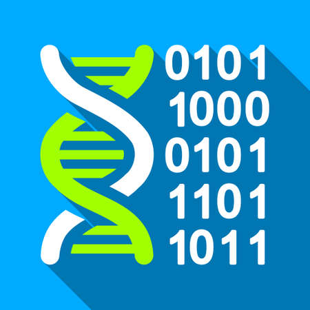 encode: Genome Code long shadow vector icon. Style is a flat light symbol with rounded angles on a blue square background.