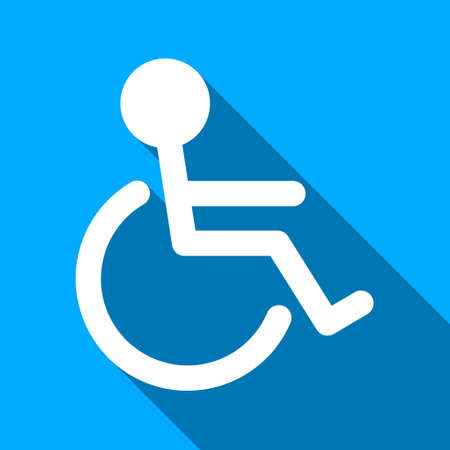 paralyze: Handicapped Person long shadow vector icon. Style is a flat light symbol with rounded angles on a blue square background.