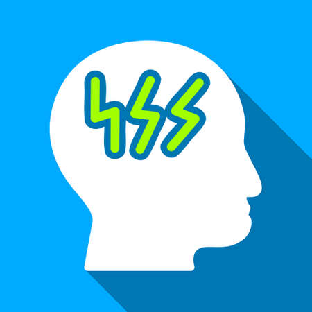 Head Brainstorm long shadow vector icon. Style is a flat light symbol with rounded angles on a blue square background. Çizim