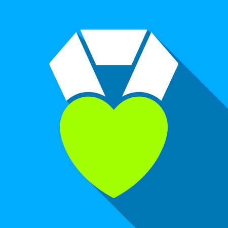 medal like: Heart Award long shadow vector icon. Style is a flat light symbol with rounded angles on a blue square background.