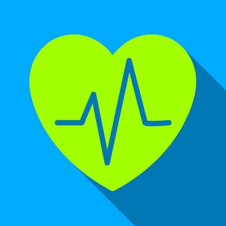 ekg: Heart Ekg long shadow vector icon. Style is a flat light symbol with rounded angles on a blue square background.