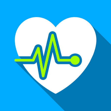 heart ekg trace: Heart Pulse long shadow vector icon. Style is a flat light symbol with rounded angles on a blue square background.