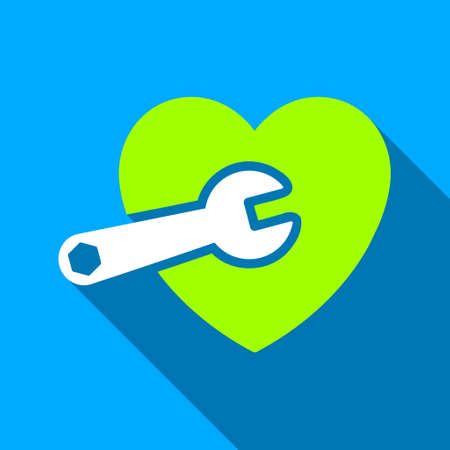 heart surgery: Heart Surgery long shadow vector icon. Style is a flat light symbol with rounded angles on a blue square background. Illustration