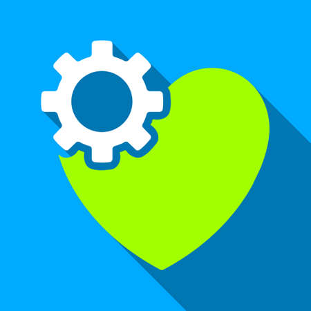 medical heart: Heart Surgery long shadow vector icon. Style is a flat light symbol with rounded angles on a blue square background. Illustration