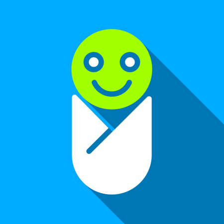 swaddling: Infant long shadow vector icon. Style is a flat light symbol with rounded angles on a blue square background.