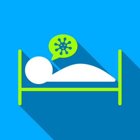 patient bed: Infected Patient Bed long shadow vector icon. Style is a flat light symbol with rounded angles on a blue square background.