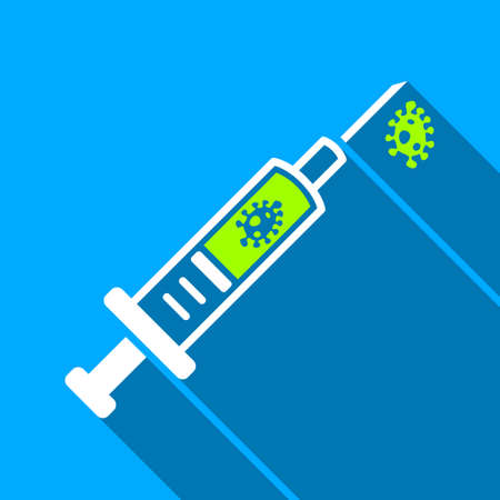 ameba: Infection Injection long shadow vector icon. Style is a flat light symbol with rounded angles on a blue square background.