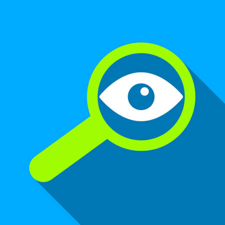 investigate: Investigate Glass long shadow vector icon. Style is a flat light symbol with rounded angles on a blue square background.