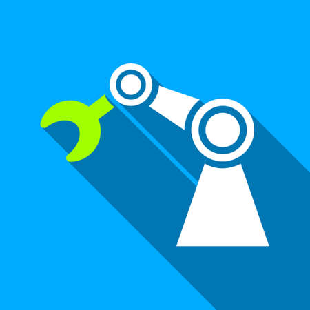 manipulator: Manipulator long shadow vector icon. Style is a flat light symbol with rounded angles on a blue square background. Illustration