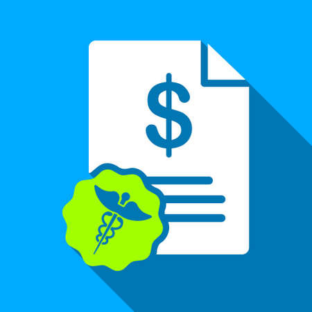 doctor with dollars: Medical Budget Page long shadow vector icon. Style is a flat light symbol with rounded angles on a blue square background.