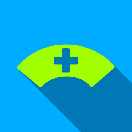 visor: Medical Visor long shadow vector icon. Style is a flat light symbol with rounded angles on a blue square background.