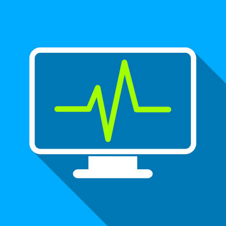 heart ecg trace: Medical Pulse Monitoring long shadow vector icon. Style is a flat light symbol with rounded angles on a blue square background. Illustration