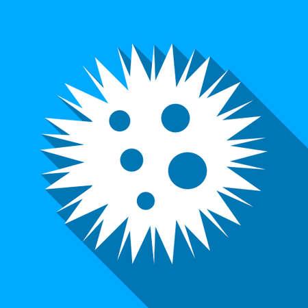 microbio: Microbio Spore icono de vector larga sombra. El estilo es un símbolo de luz plana con ángulos redondeados en un fondo cuadrado azul.