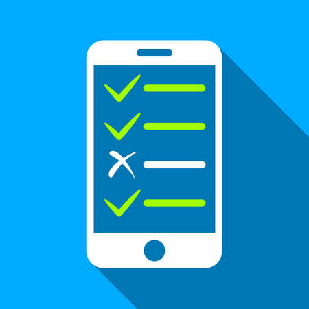 electronic voting: Mobile Test long shadow vector icon. Style is a flat light symbol with rounded angles on a blue square background.