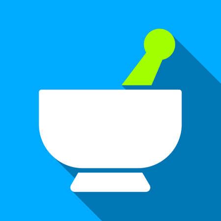 Mortar long shadow vector icon. Style is a flat light symbol with rounded angles on a blue square background.