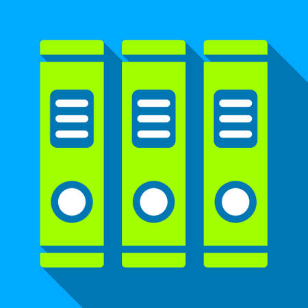 directory book: Office Books long shadow vector icon. Style is a flat light symbol with rounded angles on a blue square background.