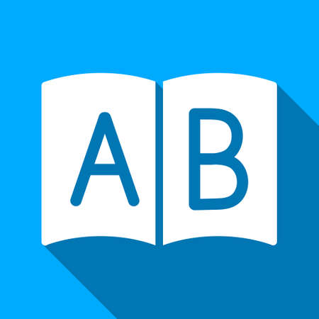 handbook: Open Handbook long shadow vector icon. Style is a flat light symbol with rounded angles on a blue square background. Illustration