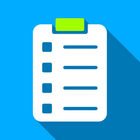 Pad Form long shadow vector icon. Style is a flat light symbol with rounded angles on a blue square background.