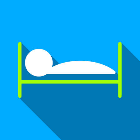 patient bed: Patient Bed long shadow vector icon. Style is a flat light symbol with rounded angles on a blue square background.