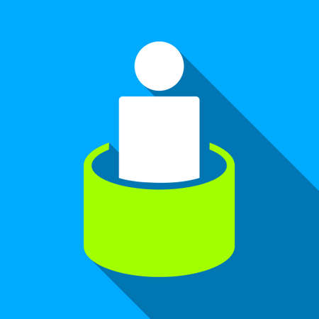 quarantine: Patient Isolation long shadow vector icon. Style is a flat light symbol with rounded angles on a blue square background.