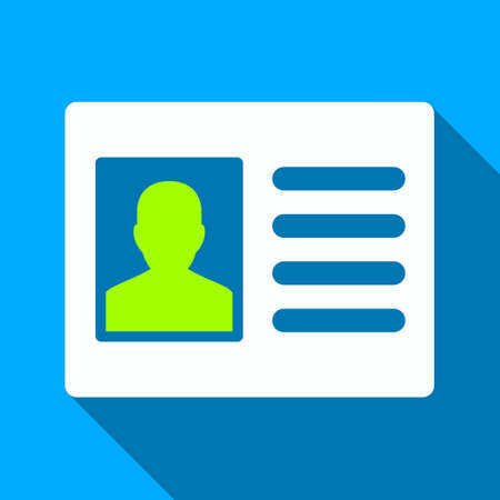 admittance: Patient Account long shadow vector icon. Style is a flat light symbol with rounded angles on a blue square background.