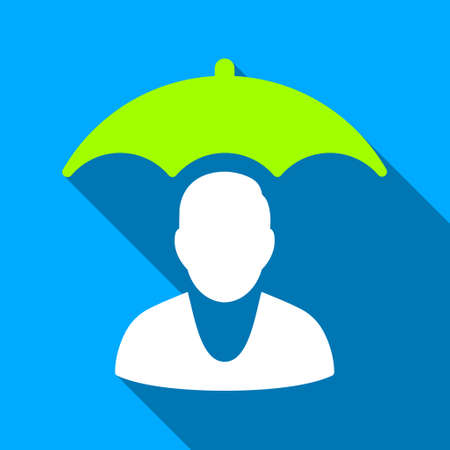 patient safety: Patient Safety Roof long shadow vector icon. Style is a flat light symbol with rounded angles on a blue square background.