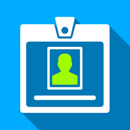 admittance: Person Badge long shadow vector icon. Style is a flat light symbol with rounded angles on a blue square background.