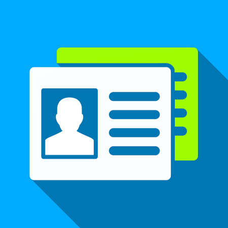 accounts: Patient Accounts long shadow vector icon. Style is a flat light symbol with rounded angles on a blue square background.