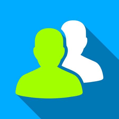 pacientes: Los pacientes larga sombra del icono del vector. El estilo es un s�mbolo de luz plana con �ngulos redondeados en un fondo cuadrado azul.