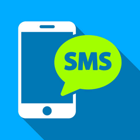short message service: Phone SMS long shadow vector icon. Style is a flat light symbol with rounded angles on a blue square background.