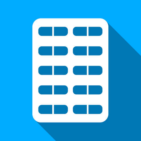 therapie: Pill Blister long shadow vector icon. Style is a flat light symbol with rounded angles on a blue square background.