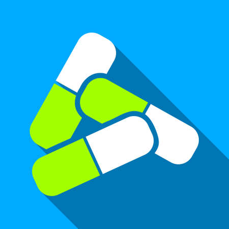 blue pills: Pills long shadow vector icon. Style is a flat light symbol with rounded angles on a blue square background.