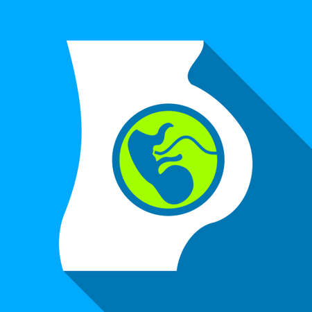 Pregnant Mother Embryo long shadow vector icon. Style is a flat light symbol with rounded angles on a blue square background.