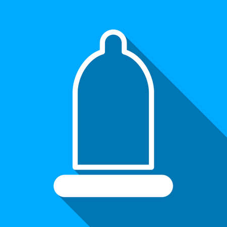 prophylactic: Preservative long shadow vector icon. Style is a flat light symbol with rounded angles on a blue square background.