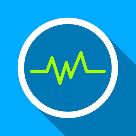 heart ekg trace: Pulse Monitoring long shadow vector icon. Style is a flat light symbol with rounded angles on a blue square background.