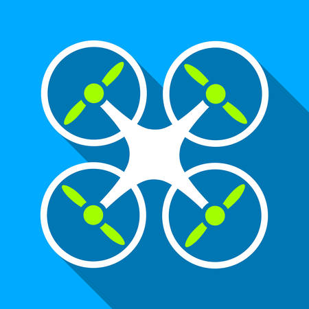 airflight: Quadcopter long shadow vector icon. Style is a flat light symbol with rounded angles on a blue square background. Illustration