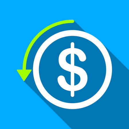 moneyback: Refund long shadow vector icon. Style is a flat light symbol with rounded angles on a blue square background. Illustration