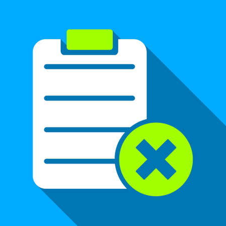 numerate: Reject Form long shadow vector icon. Style is a flat light symbol with rounded angles on a blue square background.