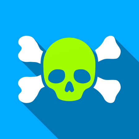 rip: Skull And Bones long shadow vector icon. Style is a flat light symbol with rounded angles on a blue square background.