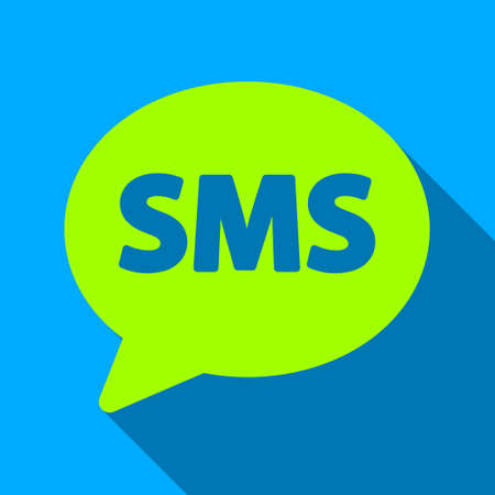 short message service: SMS Bubble long shadow vector icon. Style is a flat light symbol with rounded angles on a blue square background.