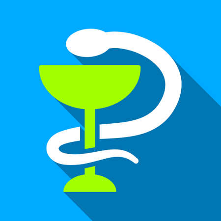 snake and a bowl: Snake Cup long shadow vector icon. Style is a flat light symbol with rounded angles on a blue square background.