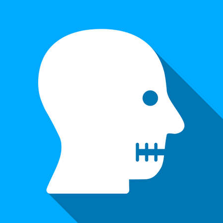sewn: Sewn Mouth long shadow vector icon. Style is a flat light symbol with rounded angles on a blue square background. Illustration