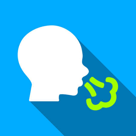 Sneezing Head long shadow vector icon. Style is a flat light symbol with rounded angles on a blue square background.
