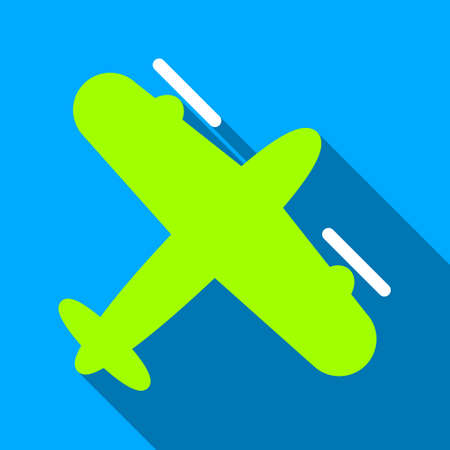 airflight: Screw Aeroplane long shadow vector icon. Style is a flat light symbol with rounded angles on a blue square background. Illustration