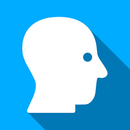 silent: Silent Head long shadow vector icon. Style is a flat light symbol with rounded angles on a blue square background.