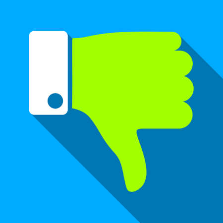 ugly gesture ugly gesture: Thumb Down long shadow vector icon. Style is a flat light symbol with rounded angles on a blue square background.