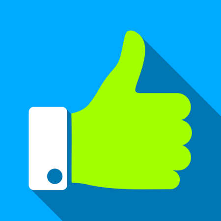 proceed: Thumb Up long shadow vector icon. Style is a flat light symbol with rounded angles on a blue square background. Illustration