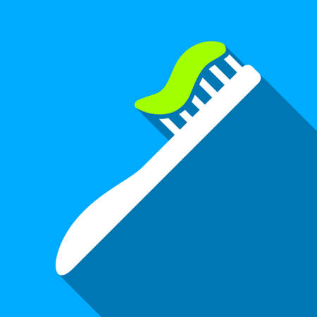 Tooth Brush long shadow vector icon. Style is a flat light symbol with rounded angles on a blue square background.